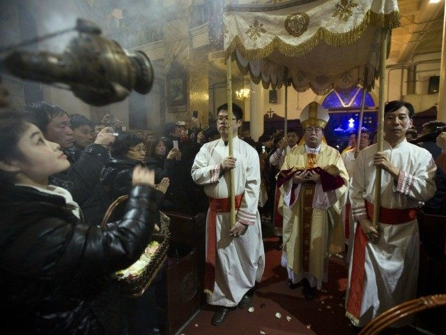 Clergy taking part in an officially sanctioned Christmas service in Beijing this year.