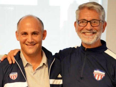 Philanthropist David Ganek (left) poses with Paul Assaiante, U.S. Squash's first paid full-time head coach.