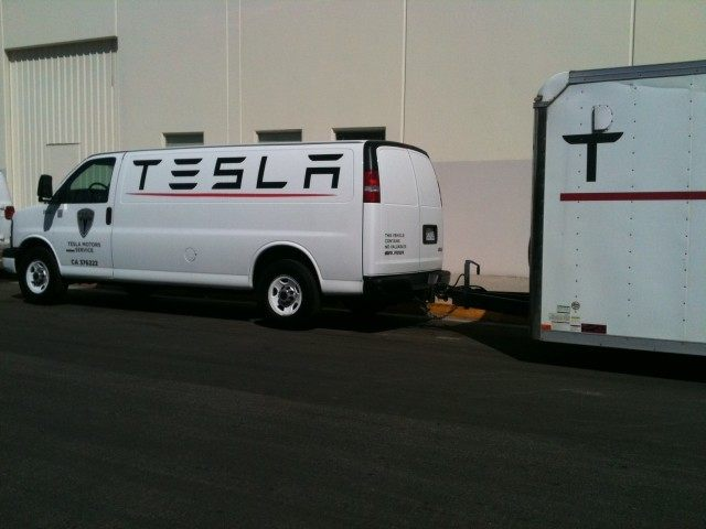 Tesla being towed to dealer.