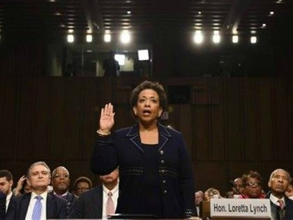 Loretta Lynch is sworn in for testimony to the Senate Judiciary Committee, Jan. 28, 2015.