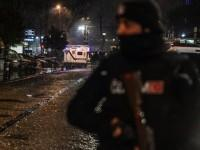 Police search area after female suicide bomber strikes in Istanbul, Turkey.