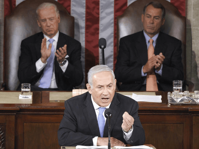 Netanyahu addresses Congress, May 2011 (Associated Press)
