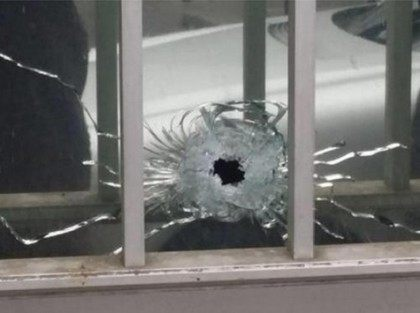 A second bullet hole shows how many shots were fried. Credit: Twitter