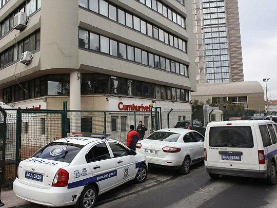 Turkish police increased security around the paper's headquarters (Reuters)