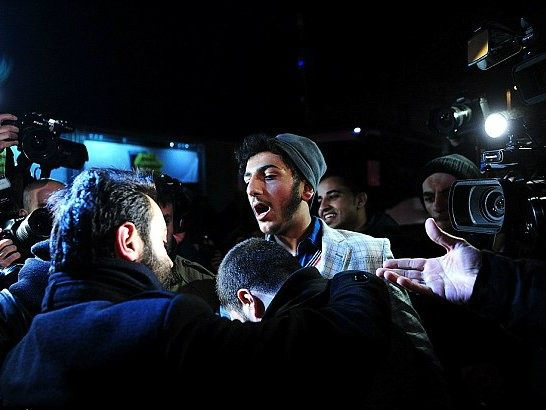 This demonstrator was arrested by plain clothes police officers (AFP/Getty)
