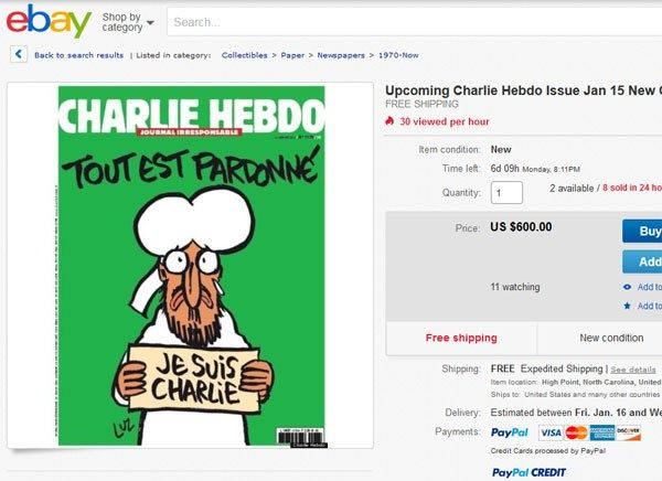 Latest issue of Charlie Hebdo selling for 20-200 times cover price on Ebay.