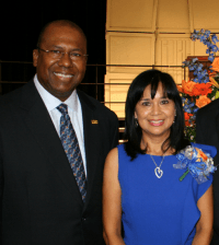 Dr. Imelda Medrano and Katy ISD Superintendent Alton Frailey.