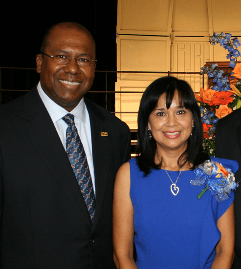 Dr. Imelda Medrano and Katy ISD Superintendent Alton Frailey.