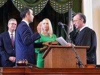 George P. Bush takes the oath of office as Texas Land Commissioner.