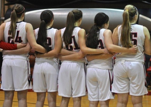 Girls HS Basketball National Anthem Photo by Tom Soranno
