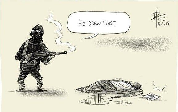 Artist David Pope drew this because of his sadness at the attack. Credit: David Pope