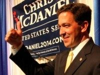 Chris McDaniel promises a victory against Sen. Thad Cochran to a late night audience Tuesday at the Lake Terrace Convention Center in Hattiesburg, Miss.