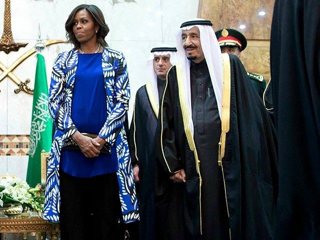 President Obama and first lady Michelle Obama participate in a delegation receiving line with new Saudi King Salman bin Abdul Aziz, fifth from left, in Riyadh, Saudi Arabia. The president and first lady have come to expresses their condolences on the death of the late Saudi king Abdullah bin Abdul …