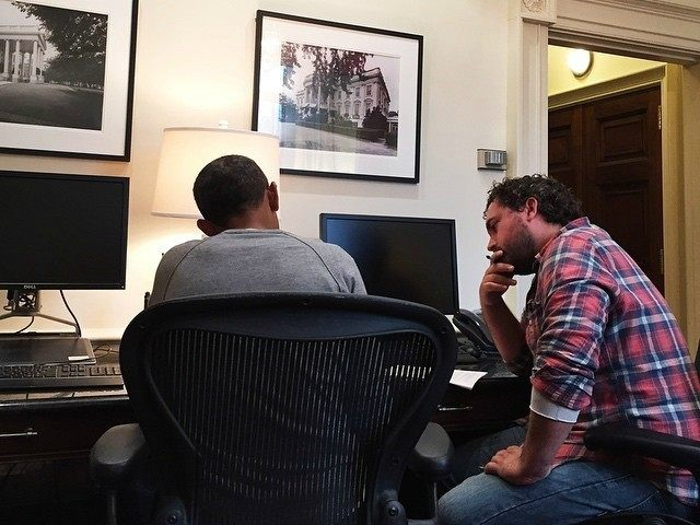 President Obama works on his State of the Union speech with Cody Keenan, Director of Speechwriting, in the residence of the White House on Jan. 18.