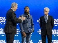US singer Pharrell Williams, Live Earth founder Kevin Wall and former US Vice President Al Gore at the World Economic Forum