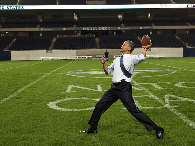 Obama throws football (White House / Wikimedia Commons)