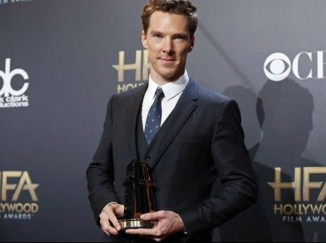 File photo of Benedict Cumberbatch posing with his award during the Hollywood Film Awards in Hollywood