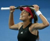 Ana Ivanovic of Serbia reacts as she waits for a line call during her women's singles semi-final win against Varvara Lepchenko of the U.S. at the Brisbane International tennis tournament in Brisbane