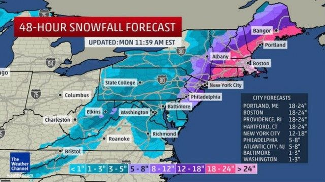 Winter Storm Juno forecast