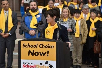 Texas State Senator Donna Campbell speaks at the National School Choice Week rally at the Texas Capitol