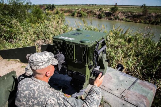 36th Infantry Division, Texas National Guard Soldier on the Rio Grande River. U.S. Army Photo: Maj. Randall Stillinger