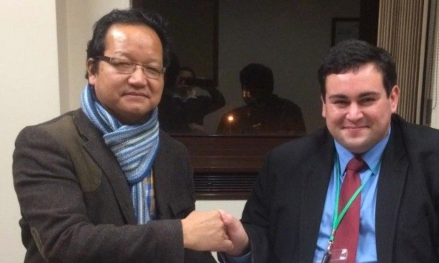 Brendan Chilton (right) with Dhan Limbu, of the Ashford Ghurka society. Photograph: Twitter