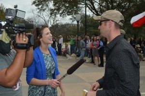 Patrick Cook, founder of Come and Take It Texas, being interviewed by local news media.