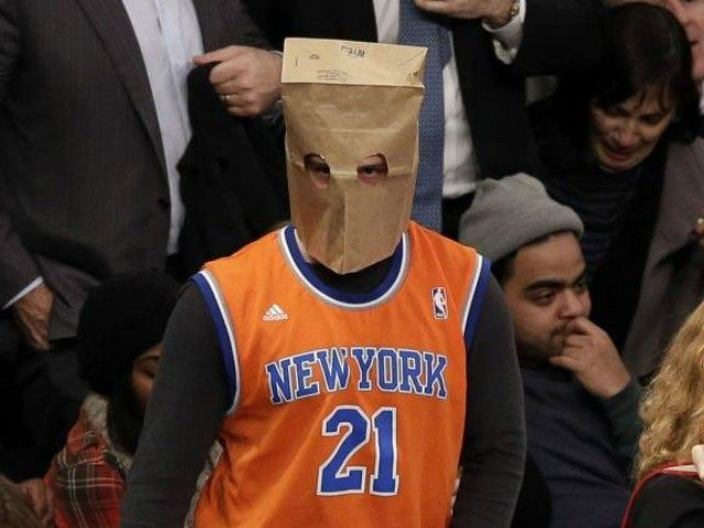 Knicks Fan Bag Over Head UPI