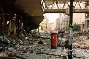 The Arndale Centre after the 1996 IRA bomb.