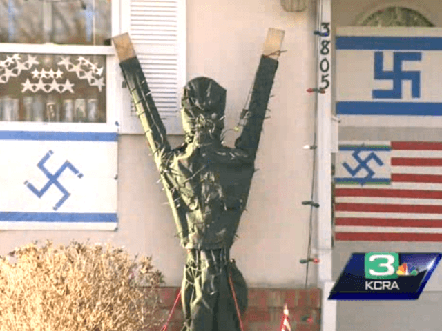 Swastika display in Sacramento (Screenshot / KCRA)