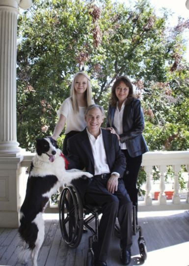 Texas Governor Greg Abbott, his wife Cecilia, daughter Audrey, and border collie Oreo. Photo provided courtesy of the Abbott Family.