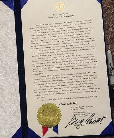 Chris Kyle Day Proclamation signed by Gov. Greg Abbott