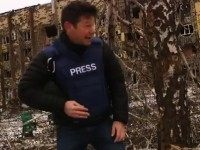 Monday while reporting on ceasefire in eastern Ukraine, at the decimated …