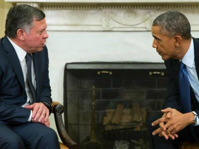 President Barack Obama, right, meets with King Abdullah II of Jordan in the Oval Office of the White House, on Tuesday, Feb. 3, 2015, in Washington. The meeting comes after Jordanian Air Force pilot First Lt. Moaz al-Kasasbeh was executed by the Islamic State group.