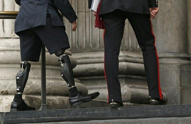 An injured Serviceman attends the Service of Remembrance at St Paul's Cathedral
