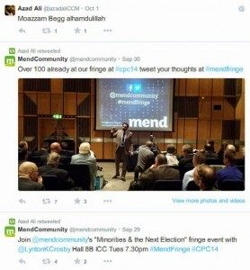 Ali tweeted the event at the same time as supporting Moazzam Begg.