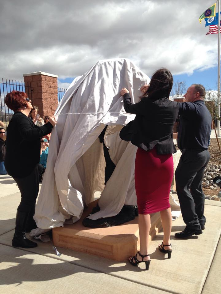 Brian Terry's family unveil the statue honoring his memory and service. Photo courtesy of Kelly Terry-Willis.