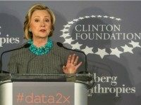 NEW YORK, NY - DECEMBER 15: Former U.S. Secretary of State and first lady Hillary Clinton speaks at a press conference announcing a new initiative between the Clinton Foundation , United Nations Foundation and Bloomberg Philanthropies, titled Data 2x on December 15, 2014 in New York City. Data 2x aims …