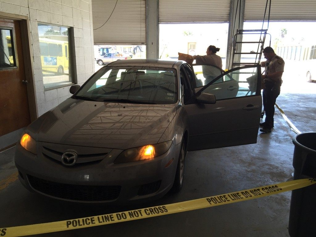 Jordan Britten's car being searched for evidence. Photo Courtesy: South Padre Island Police Department