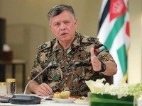 JORDAN, Amman : A handout picture released by the Jordanian Royal Palace shows Jordan's King Abdullah II speaking during a meeting with retired US Marine General Joseph Hoar and a delegation of the Capstone Program at the Royal Palace in Amman on February 12, 2015. AFP PHOTO / JORDANIAN ROYAL …