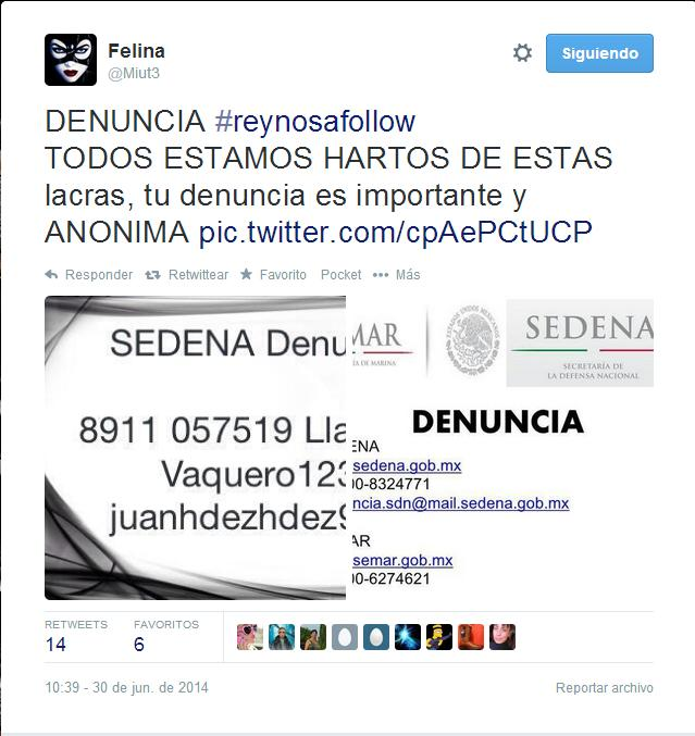 One of the Tweets from a Reynosa citizen journalist asking the public to send anonymous tips.