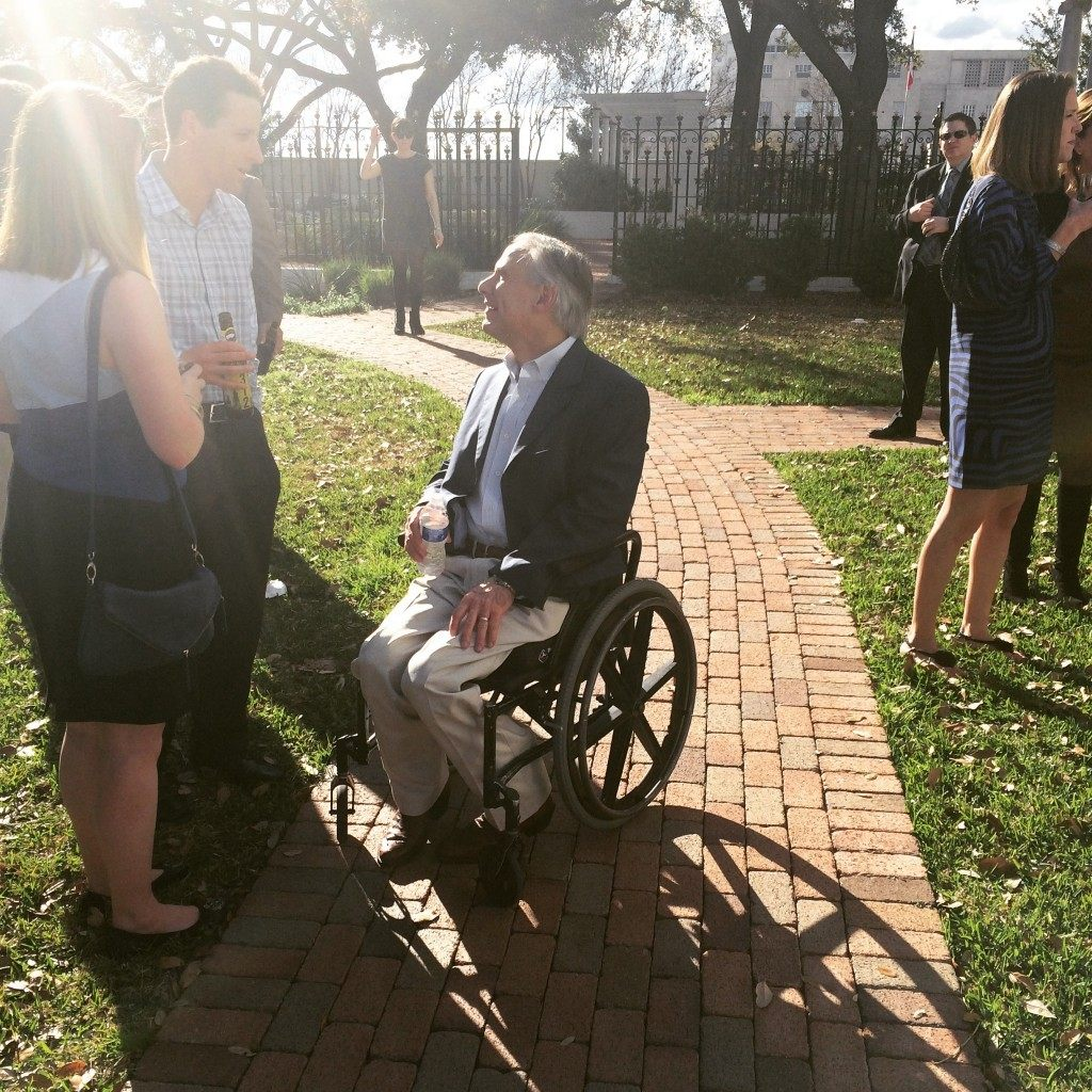 Gov. Greg Abbott greets guests. Photo by Sarah Rumpf.