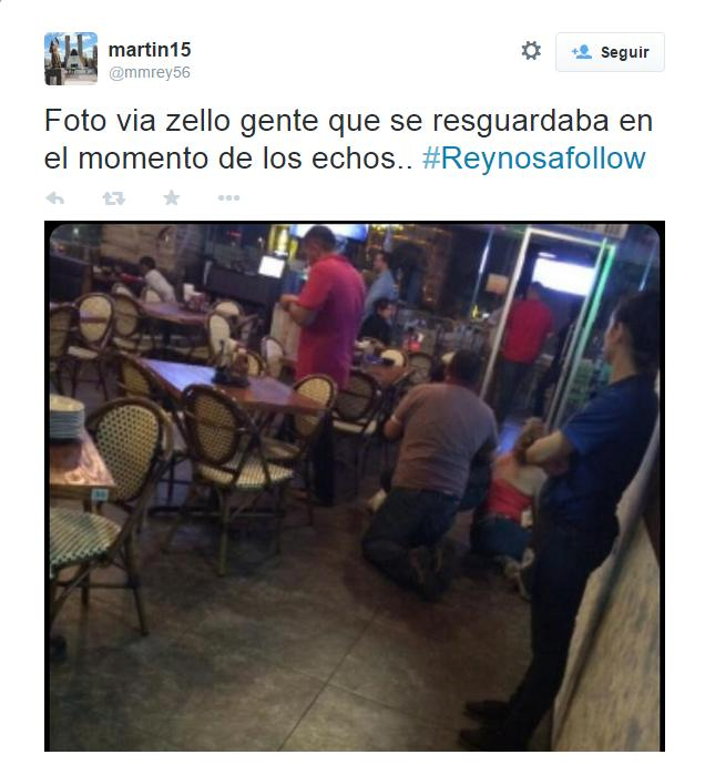 Restaurant patrons duck for cover as cartel gunmen and Mexican soldiers fight on in the streets