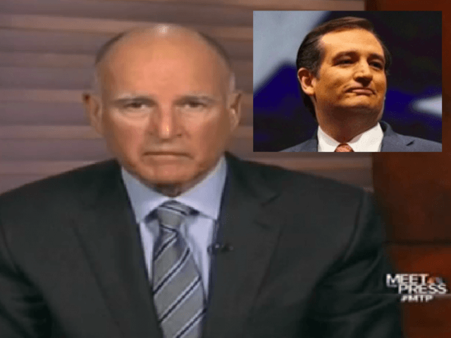 Jerry Brown vs. Ted Cruz (NBC Screenshot / Wire services)
