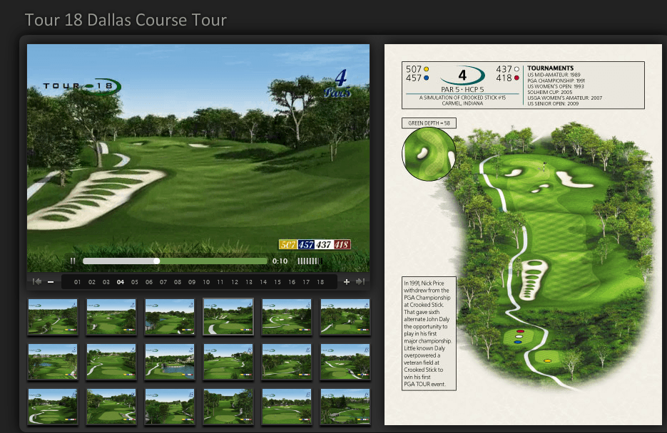 Video tour of Tour 18 Hole #4. A simulation of the famous Crooked Stick #15 in Carmel, Indiana. Photo: Tour 18 Dallas Website.
