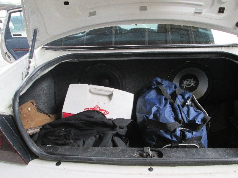 Trunk of car where illegal immigrants were found in speaker box. Photo: U.S. Boder Patrol
