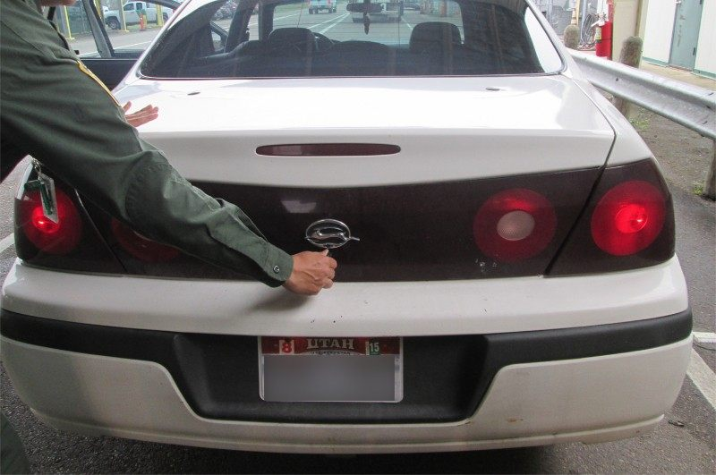 Vehicle where Illegal ImmigPhoto: U.S. Boder Patrolrant found in speaker box. Photo: U.S. Border Patrol