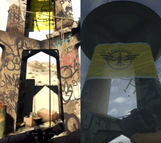 On the left, the Gadsden flag displayed hanging from a tower in the Gamescom alpha footage of 'Battlefield Hardline'. On the right, the flag in the final version of the game.
