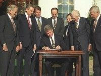 President Bill Clinton signed the Religious Freedom Restoration Act on the White House's South Lawn in 1993 to prevent laws from burdening a person's religious beliefs without a compelling justification.