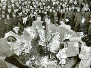 Comic-book burning, 1950s America.